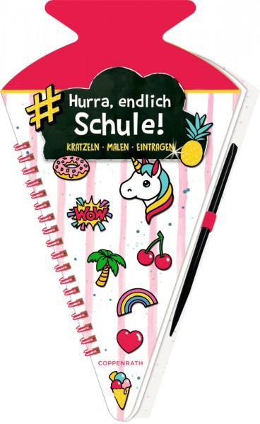 Funny Patches - Hurra, endlich Schule! Schultüten-Kratzelbuch pink
