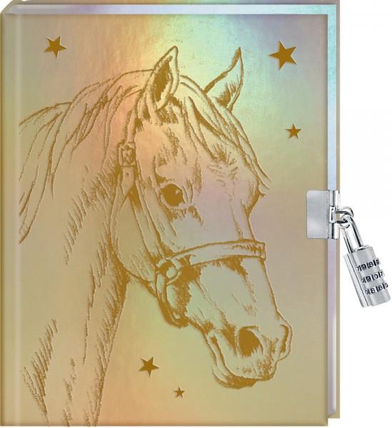 Tagebuch: Pferdefreunde - Mein Tagebuch (metallic) mit Schloss