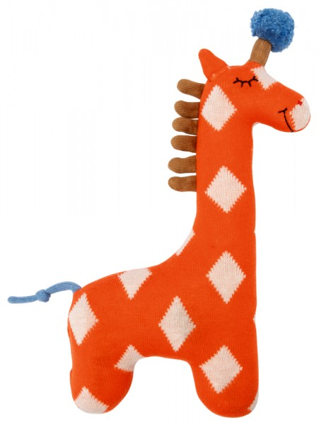 Kuschel-Stricktier Giraffe orange
