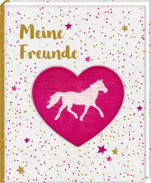 Freundebuch: Pferdefreunde - Meine Freunde (mit Wendepailletten- Patch)