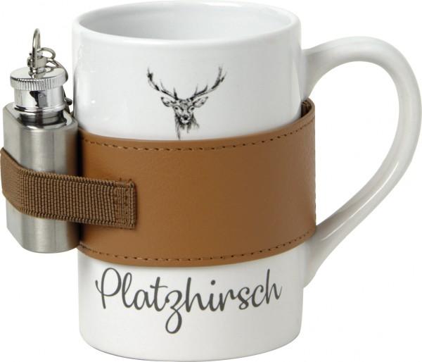 Keramikbecher mit Flachmann WINTER WILDLIFE
