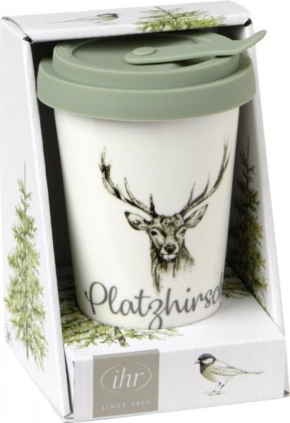 Porzellan Coffee to go Becher WINTER WILDLIFE mit Silikondeckel