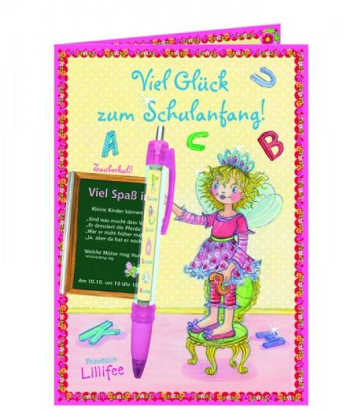 Viel Glück zum Schulanfang! Grußkarte mit Zauberkuli Prinzessin