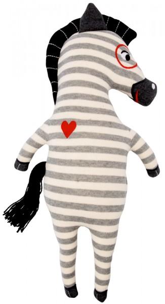 Kuschel-Stricktier groß - Zebra