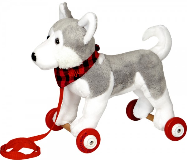 Husky Kiju auf Holzrollen - Lustige Tierparade