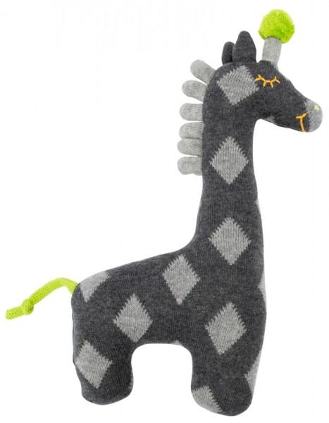 Kuschel-Stricktier klein - Giraffe grau